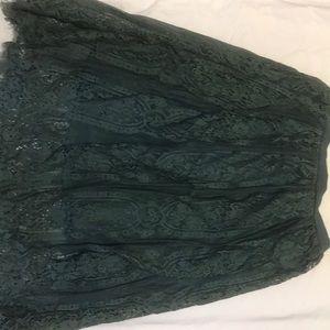 Lace green midi skirt